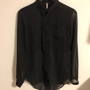 Free People Black Longsleeve Button Down Small